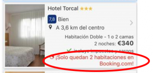 Booking estrategia escasez